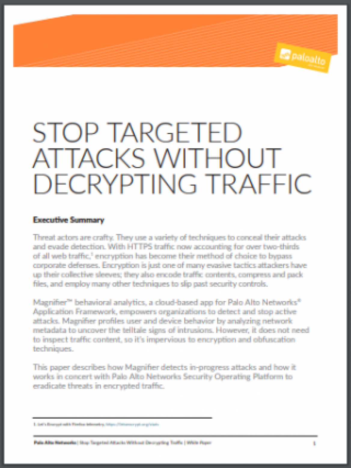 Stop Targeted Attacks Without Decrypting Traffic