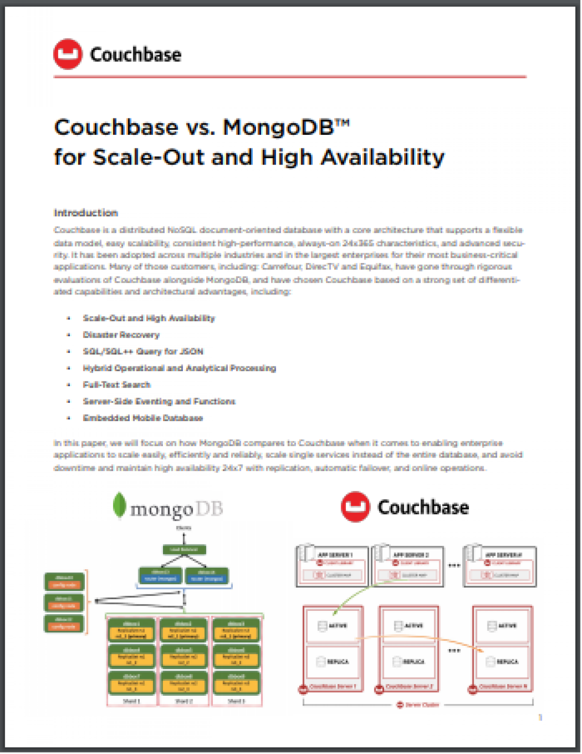 Couchbase vs. MongoDB™ for Scale-Out and High Availability